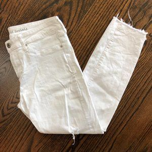 Articles of Society Ripped Raw Hem White Jeans 28